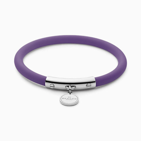 Blakely Purple Silicone and Silver Tone Bracelet