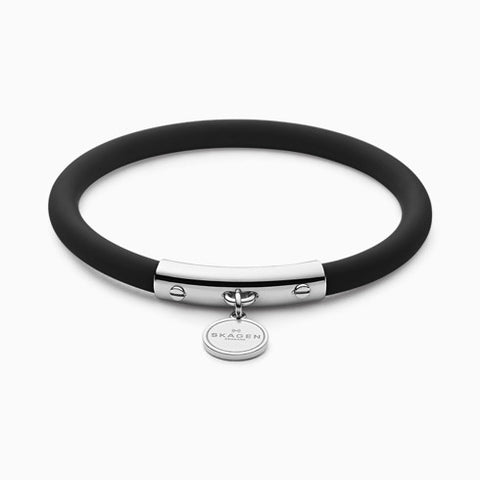 Blakely Black Silicone and Silver Tone Bracelet