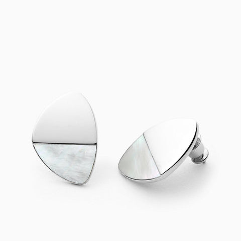 Agnethe Silver Tone Mother of Pearl Earrings