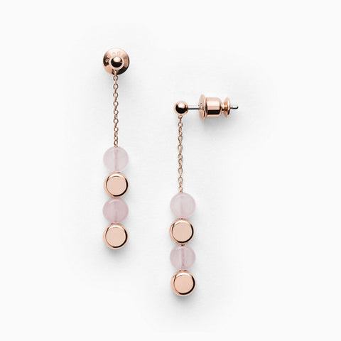 Ellen Rose Tone Stainless Steel Rose Quartz Earrings
