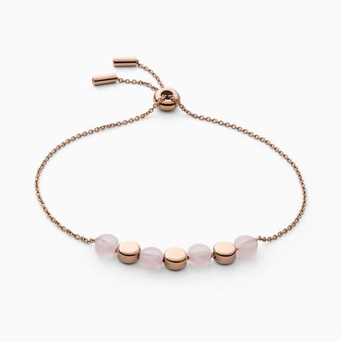 Ellen Rose Tone Stainless Steel Rose Quartz Bracelet