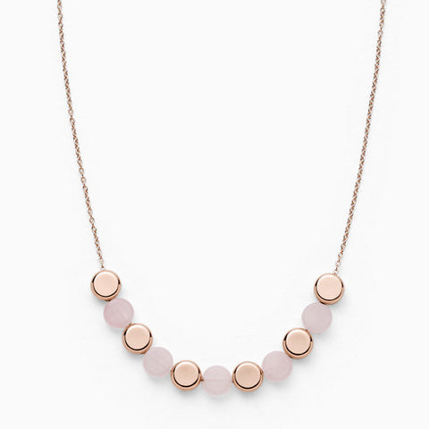 Ellen Rose Tone Stainless Steel Rose Quartz Necklace
