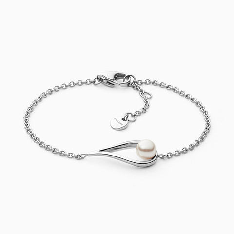 Agnethe Silver Tone Stainless Steel and Faux Pearl Bracelet