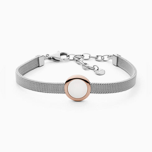 Sea Glass Two Tone Steel Mesh Bracelet