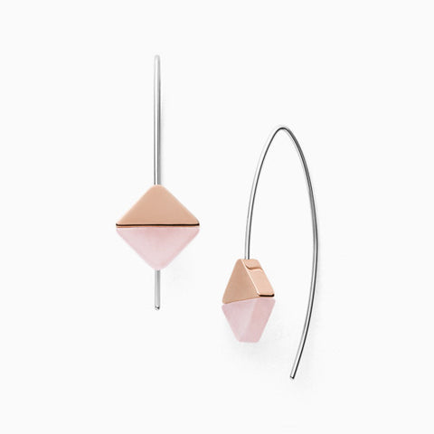 Ellen Rose Tone Stainless Steel and Rose Quartz Earrings