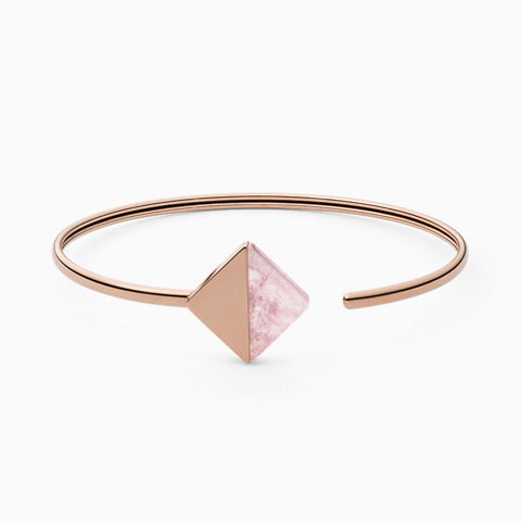 Ellen Rose Tone Stainless Steel and Rose Quartz Bracelet