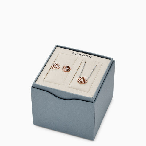 Elin Two Tone Stainless Steel Necklace Earring Box Set