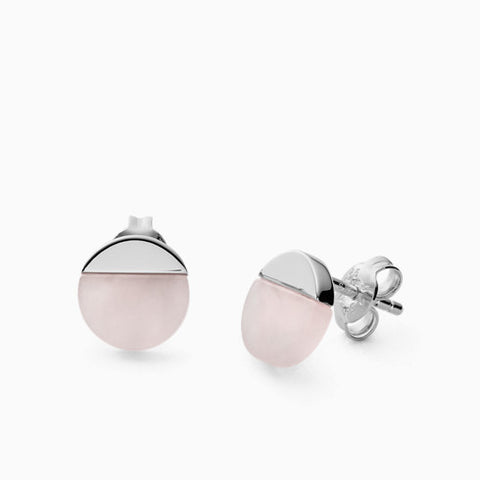 Ellen Sterling Silver Rose Quartz Earrings