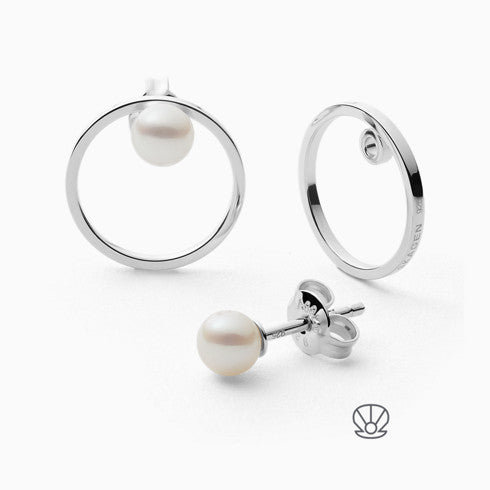Agnethe Sterling Silver Genuine Cultured Pearl Earrings