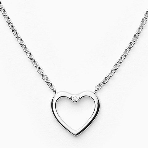 Katrine Sterling Silver Genuine Diamond Necklace