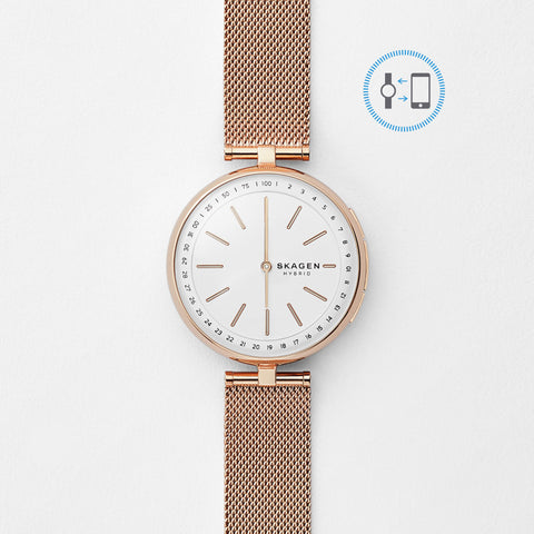 Hybrid Smartwatch - Signatur T-Bar Rose Gold-Tone Steel-Mesh