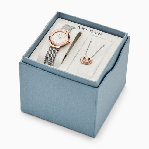 Leonora Two Hand Silver Tone Stainless Steel Watch and Necklace Box Set