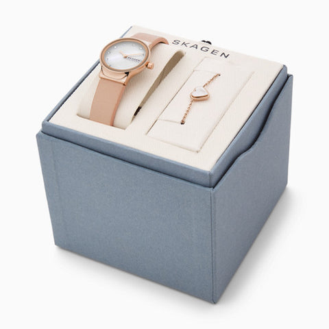 Freja Two Hand Pink Leather Watch and Bracelet Box Set
