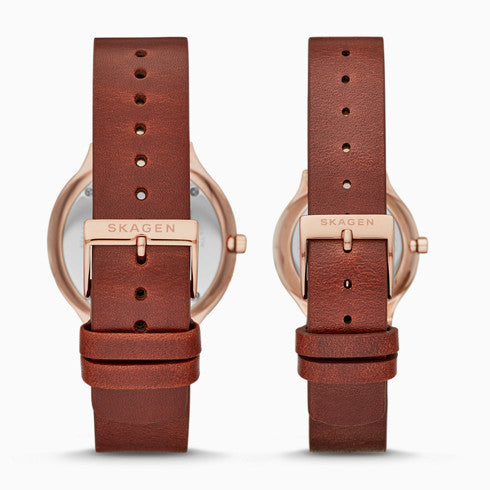 Grenen Two Hand Date Red Leather Watch Pairs Set