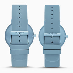 Aaren Kulor Three Hand Blue Silicone Watch Pairs Set