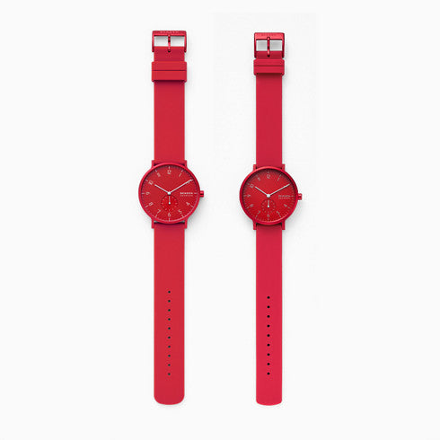 Aaren Kulor Three Hand Red Silicone Watch Pairs Set