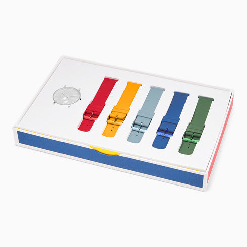 Aaren Kulor Three Hand Multi Colored Silicone 41mm Watch Strap Set