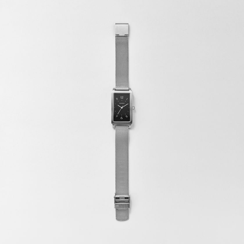 Hagen Rectangular Steel-Mesh Watch