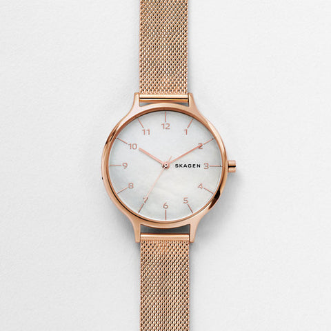 Anita Mother-of-Pearl Steel-Mesh Watch