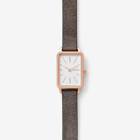 Hagen Mini Rectangular Leather Watch