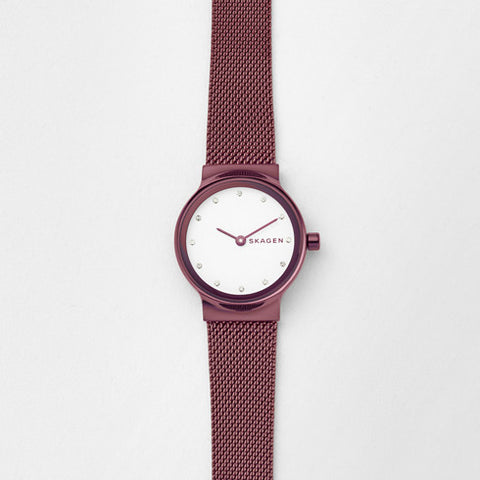 Freja Red Steel-Mesh Watch