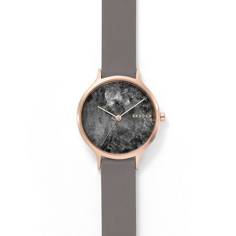 Anita Grey Leather Marble Watch