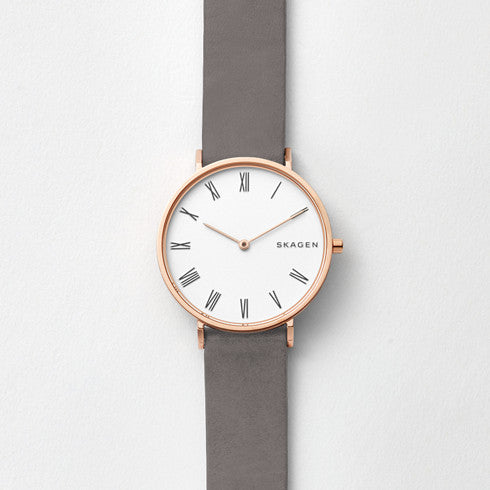 Slim Hald Grey Leather Watch