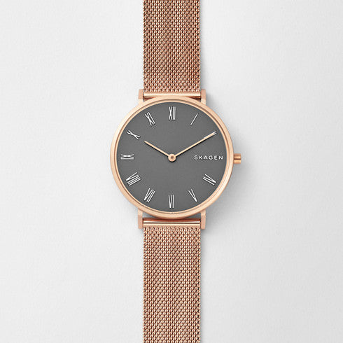 Slim Hald Rose Gold-Tone Steel-Mesh Watch