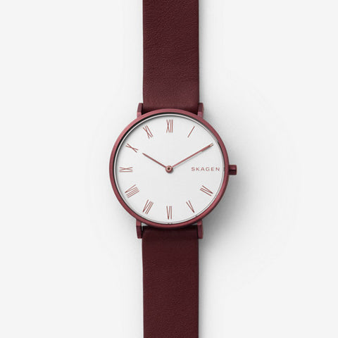 Slim Hald Maroon Leather Watch