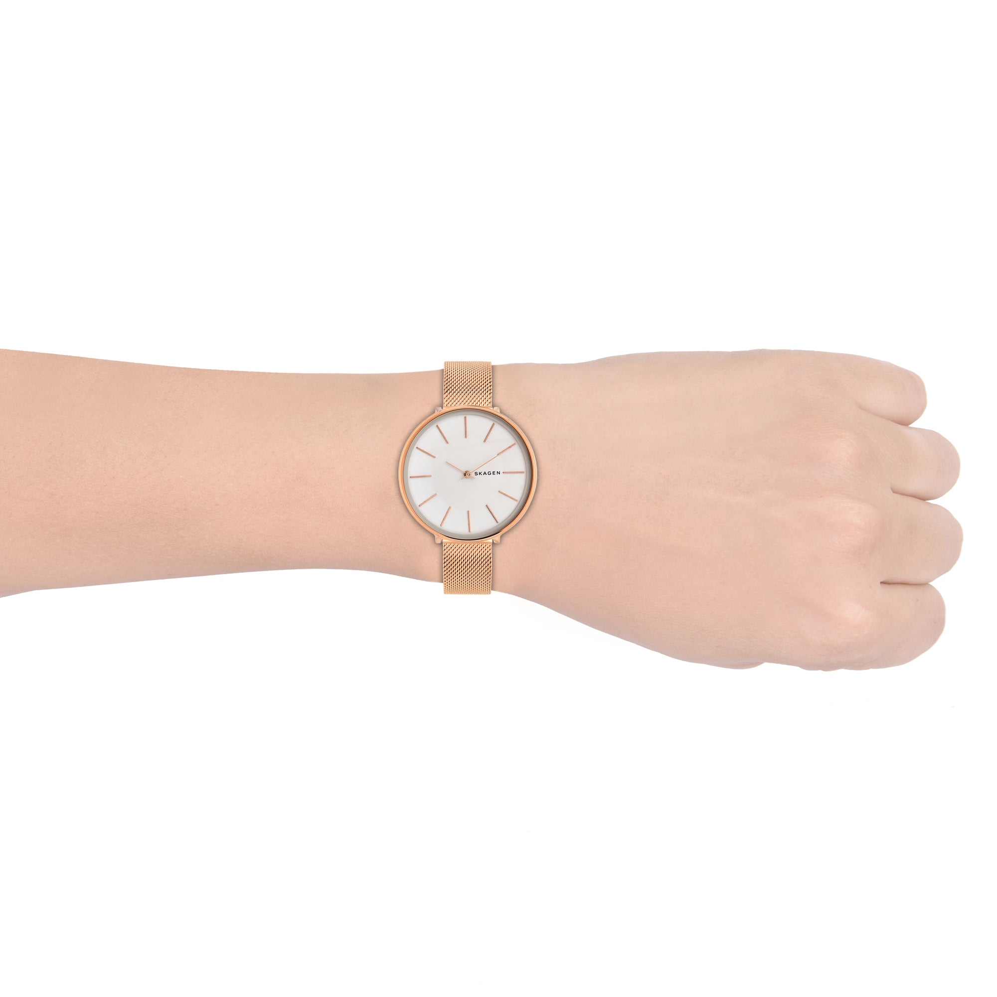 Karolina Rose Gold Tone Steel Mesh Watch