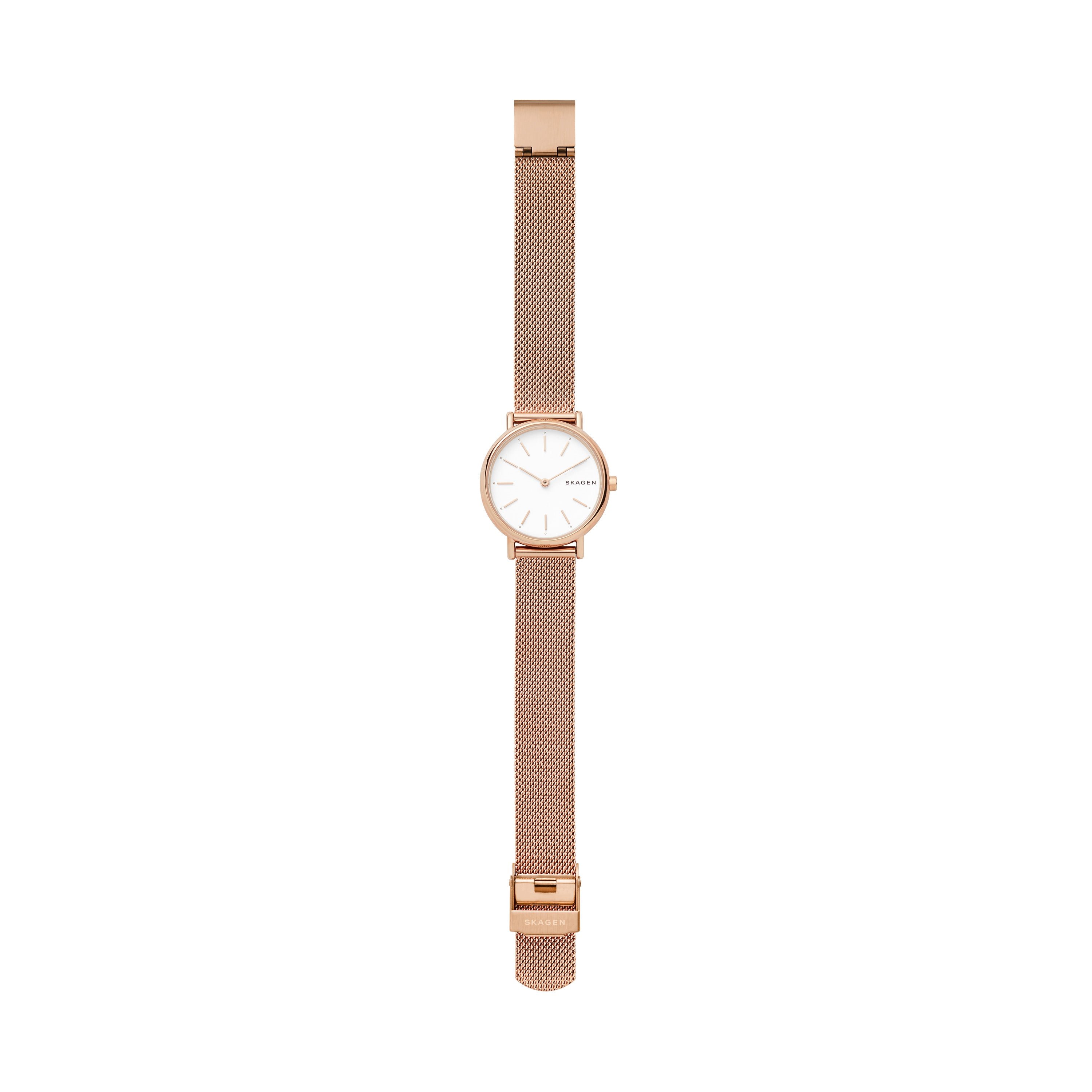 SIGNATUR SLIM Rose Gold Tone Steel Mesh Watch & Gray Leather Strap