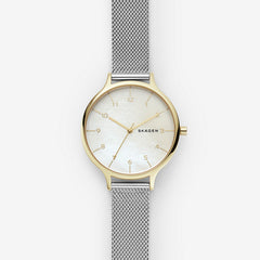 Anita Two Tone Steel Mesh Mother of Pearl Watch