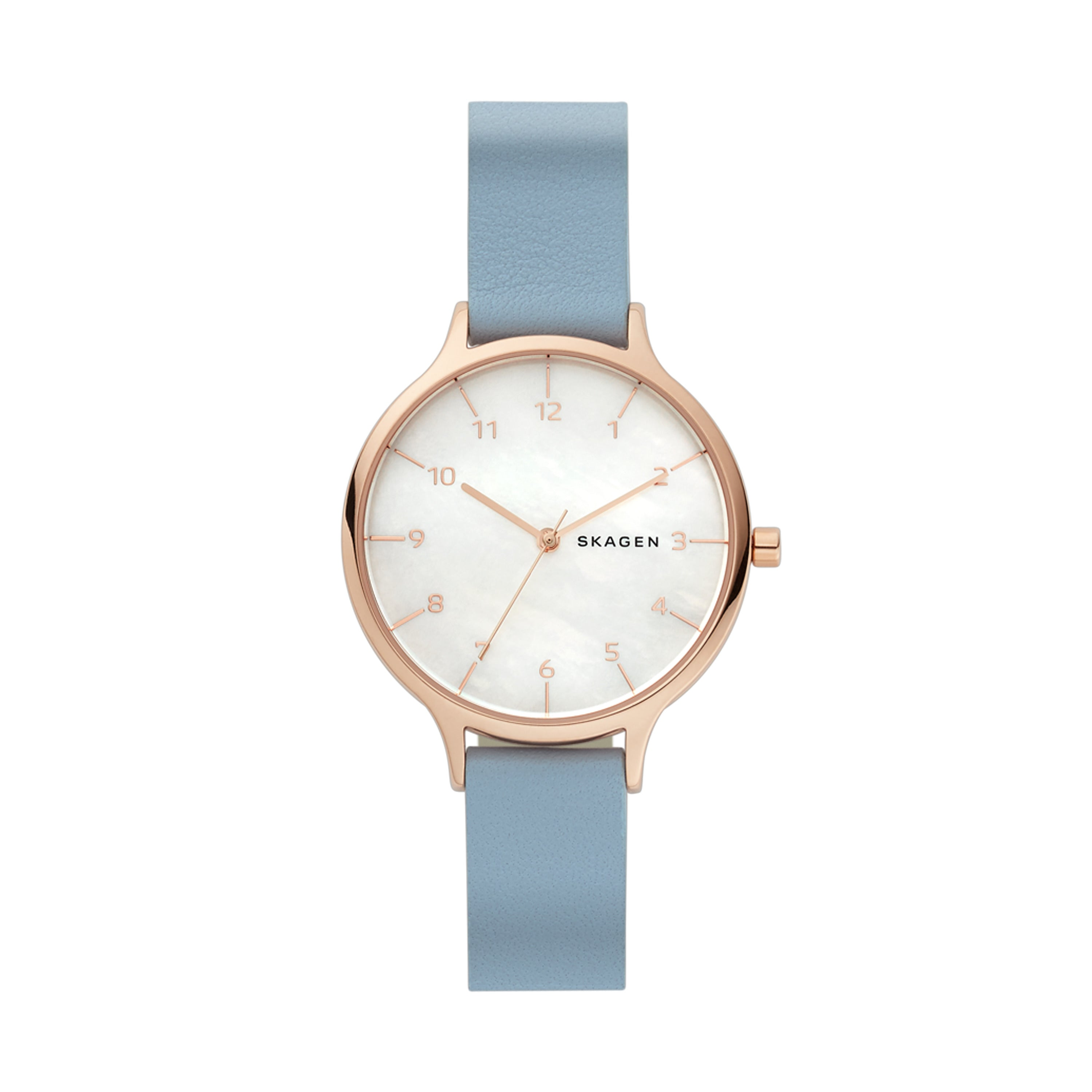 Anita Mother of Pearl Blue Leather Watch