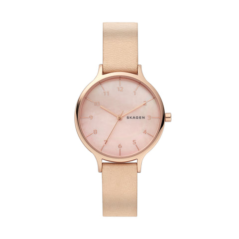 Anita Mother of Pearl Nude Leather Watch