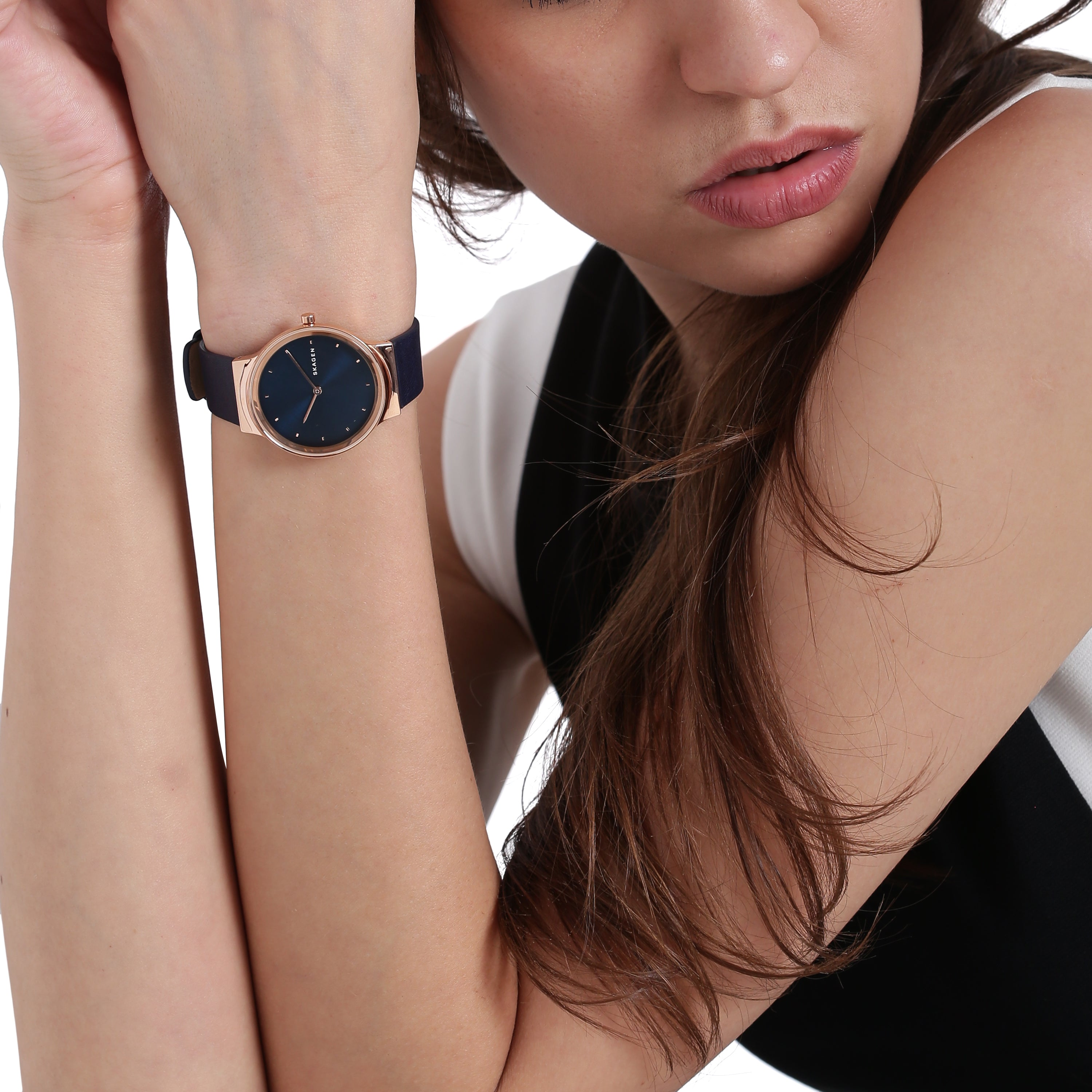 Freja Navy Blue Leather Watch