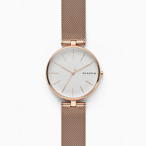Signatur T Bar Rose Tone Steel Mesh Watch