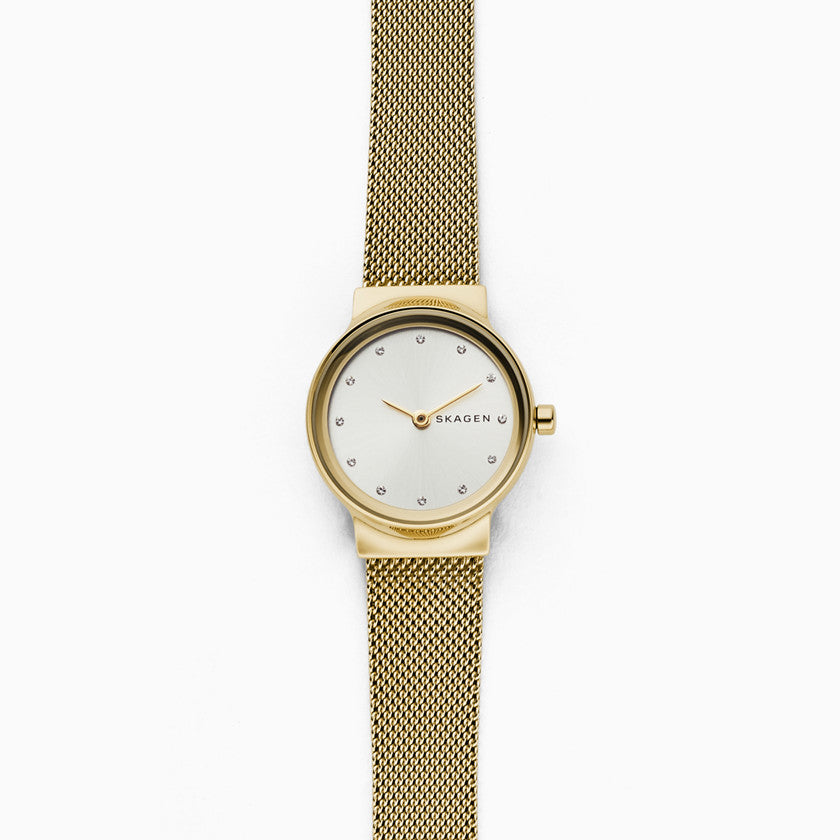 Freja Gold Tone Steel Mesh Watch