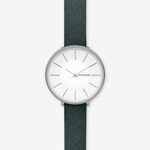 Karolina Green Leather Watch