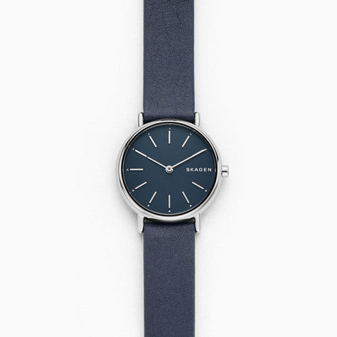 Signatur Slim Blue Leather Watch