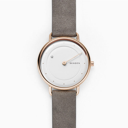 Horizont Special-Edition Genuine Diamond Gray Leather Watch