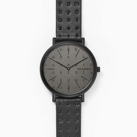 Signatur Slim Alphabet Black Leather 36mm Watch