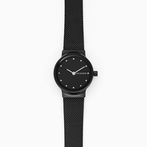 Freja Black Steel Mesh Watch