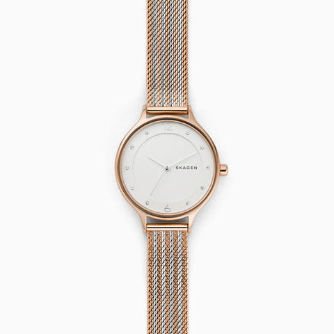 Anita Two Tone Steel Ripple Mesh Watch