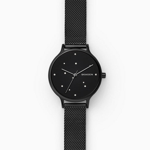 Anita Black Steel Mesh Constellation Watch