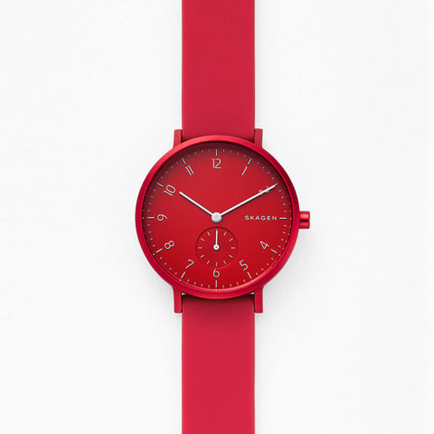 【NEW size】Aaren Kulor Red Silicone 36MM Watch