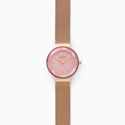 Leonora Rose Tone Steel Mesh Watch