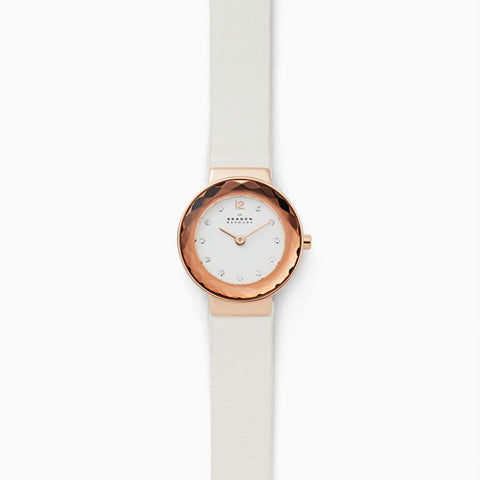 Leonora White Leather Watch
