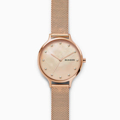 Anita Mother of Pearl Rose Tone Steel Mesh Watch