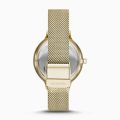 Anita Mother of Pearl Gold Tone Steel Mesh Watch