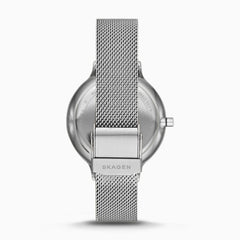 Anita Mother of Pearl Silver Tone Steel Mesh Watch
